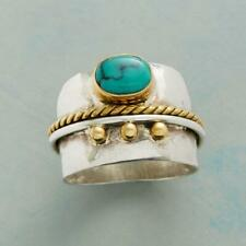 Vintage Women 925 Silver Turquoise Gem Ring Engagement Wedding Jewelry Size 10