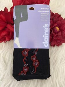 Claire's Black Red Floral Footless Tights Stockings Hosiery Women's SZ M/L