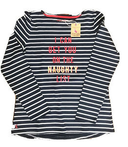 29.95 🐇JOULES 🐇 Harbour Print Long Sleeve Jersey Top - Naughty List Sz 12 UK