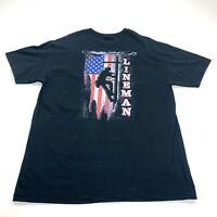 Lineman USA Flag American T Shirt Size Large Back Graphic