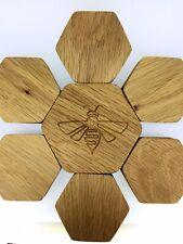 Solid Oak Box Honeycomb Honeybee Engraved Wooden Jewellery Box Perfect Gift Idea