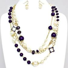 Designer Style Purple Cream Faux Pearl Crystal Gold Chain Long Necklace Set