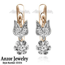 Russian Style Earrings Genuine Diamond F-SI1 in 14k Rose and White Gold