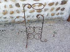 Ancien support pot de fleur porte plante jardinière en fer forgé torsadé vintage