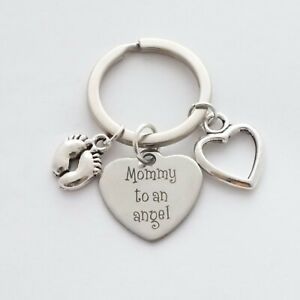 """""""Mommy to an angel"""" - Baby Child Infant Mother Mum - Memorial Keepsake - Keyring"""