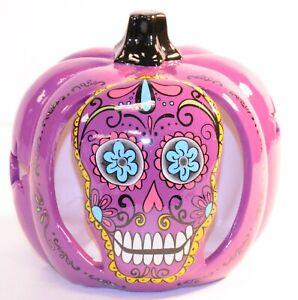 3115-087 Say Of the dead Purple Lighted Pumpkin Clay Pumpkin