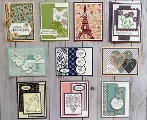 10 Handmade Wedding Anniversary greeting cards envelopes Stampin' Up! +more