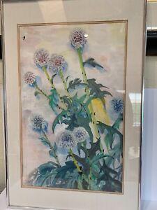 Irving Affias signed watercolor painting  oriental seal mark Dandelions biz card