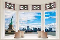 Huge 3D Bay Window New York City View Wall Stickers Mural Wallpaper 336