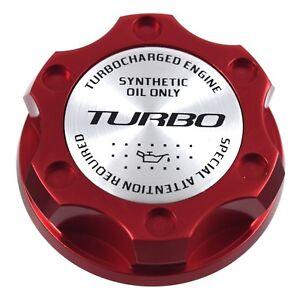Red Billet Oil Filler Cap With Silver Turbo Emblem For Chrysler Jeep Dodge Ram