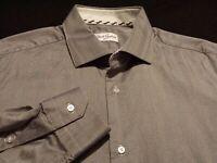 Robert Graham Mens sz 16.5 Long Sleeve Button-Front Cotton Gray Striped Shirt