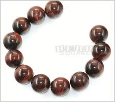 12 Large Red Tiger's Eye Round Beads ap. 15mm #28017