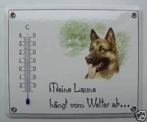 Emailleschild Email Balkon Schild Schäferhund mit Thermometer Balkonschild