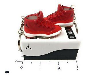 Hand Painted Retro OG Pair of 3D Mini Shoe Keychains Air Jordan 11 Red