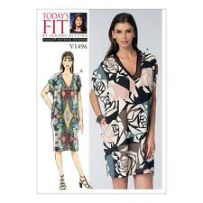 VOGUE CRAFT SEWING PATTERN MISSES V-Neck Cocoon Dresses DRESS OSZ V1496