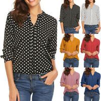Womens Polka Dot 3/4 Sleeve Blouse Tops Casual Office Work V Neck T-Shirt New