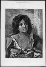 1874 FINE ART Antique Print - Gipsy Richter Herbert Davis Coat Girl (113)