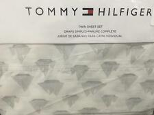 Tommy Hilfiger Sailboat Nautical Easy Care 3pc Twin Sheet Set Grey on White Boat
