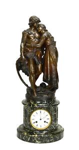 Antique French NAPOLEON III Antony Bailly Bronze Figure Marble Base Mantel Clock