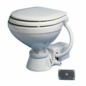 Electric Standard Wooden Seat Compact Toilet 12v with Button Panel Yacht Boat KA