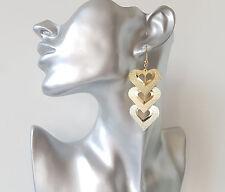 BELLISSIMA 5.5cm lunga tono oro cuore a strati leggero Orecchini Pendenti A Disco
