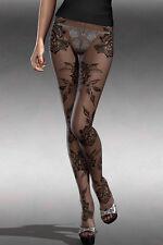 Collant à mailles fines Noir à motifs grandes fleurs  SEXY BAS NEUF