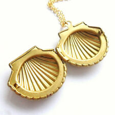 1PC Fashion Design Little Golden Sea Shell Mermaid Locket Nautical Necklace
