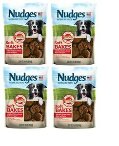 (4) Nudges Natural Dog Treats Soft Bakes Chicken Peanut Butter Apple 10 Oz