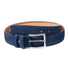 """Blue Suede Belt Genuine Perforated leather Navy Men's golf belts Casual Size 40"""""""