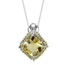 Lemon Quartz Peridot Cluster Women's Pendant 925 Sterling Silver Jewelry 26x21 M