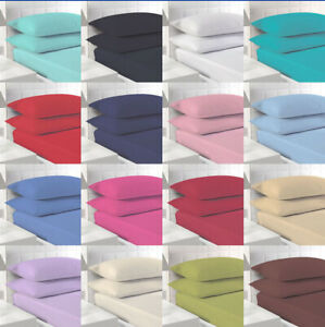 """Polycotton Fitted Sheet Single 4ft Small Double King Super King 9"""" in 11 Colours"""