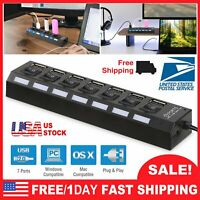 7-Port USB 2.0 Multi Charger Hub +High Speed Adapter ON/OFF Switch Laptop PC New