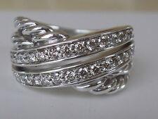 $1750 DAVID YURMAN CROSSOVER STERLING PAVE DIAMOND RING