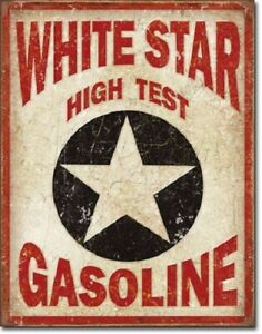 New White Star High Test Gasoline Decorative Metal Tin Sign