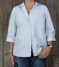 Lands End 14w size Blouse White Blue No Iron Womens Top Career Casual Cotton