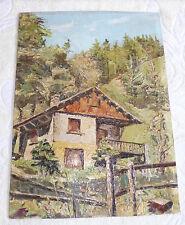HsC paysage montagne en été signée/suisse/alpes/savoie/sapins/chalet