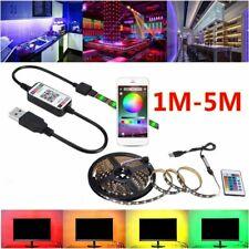 1M-5M 5050 USB RGB LED Strip Light Wireless Bluetooth Control Lights Music Sync