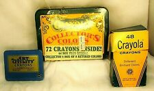 Vintage Crayola Crayons Lot Sealed Box of 72 & Retired Colors Box of 48 & Tin