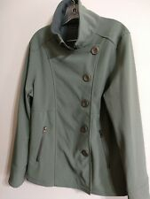 Prana XL Rain WindbreakerJacket Coat Soft Shell Asymmetric Green Womens Zip Btns