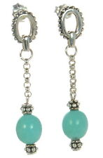 Joseph Esposito Solid 925 Sterling Silver Turquoise Drop Earrings '