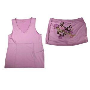 athleta womens XL skort and Large tank set Floral Purple Lilac Tennis Golf