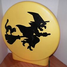 "SUN HILL RARE 21"" Witch On Broom With Cat Lighted Silhouette Blowmold Halloween"