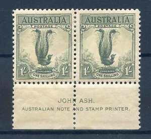 Australia 1/- Green SG140 Unmounted Mint Marginal Pair