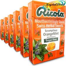 """6x RICOLA """"Scrumptious"""" Arancione MINT Svizzero Erbe LOZENGES Caramelle SUGAR FREE 45g"""