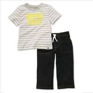 "Carter's 2-pc Top & Pull On Pants Set, ""Super Cute"" (GBC-JP180), Size: 9 months"