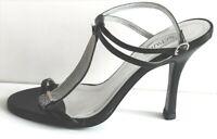 Womens Schuh Wanna Chain T-Bar Black Leather Sexy Sandals Heels Size 3UK 36EU