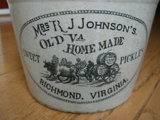 Vintage R.J. JOHNSON'S SWEET PICKLES STONEWARE CROCK - Richmond, VA