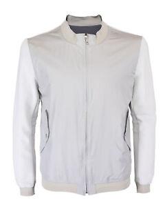 NWT ZEROSETTANTA STUDIO LANDI BOMBER jacket pearl grey cotton luxury Italy 50 M