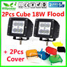 2X 18W Flood CREE LED Work Light Bar 3 Inch Cube Offroad Car SUV Truck + Cover