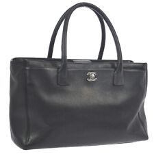CHANEL CC Logos 2way Business Hand Bag Purse Black Leather 16947804 AK38196a
